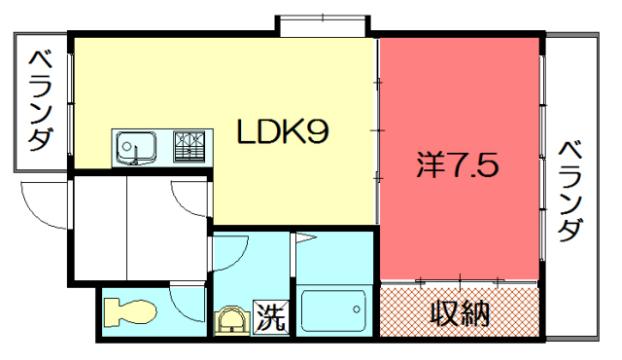 物件番号: 1075915428 サイドパークⅠ  京都市左京区岩倉忠在地町 1LDK マンション 間取り図