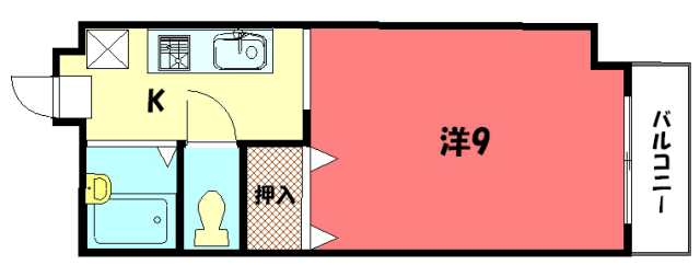 物件番号: 1075915690 サンハイム橋本  京都市左京区一乗寺払殿町 1K マンション 間取り図