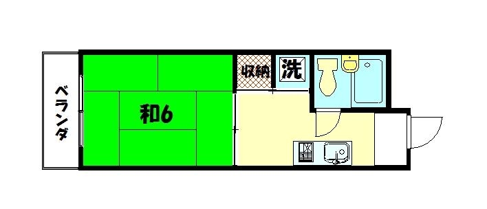 物件番号: 1075915733 ランドハウス洛北  京都市左京区一乗寺向畑町 1K マンション 間取り図