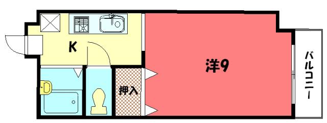 物件番号: 1075915910 サンハイム橋本  京都市左京区一乗寺払殿町 1K マンション 間取り図