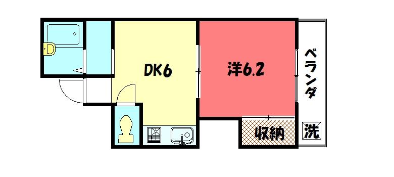 物件番号: 1075917120 パパス永楽  京都市左京区田中関田町 1DK マンション 間取り図