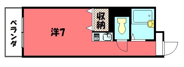 物件番号: 1075917312 リヴァク鴨川  京都市左京区新生洲町 1R マンション 間取り図