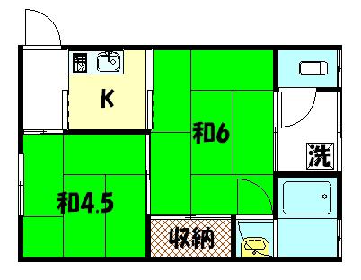 物件番号: 1075917525 寿荘  京都市左京区岩倉中在地町 2K ハイツ 間取り図