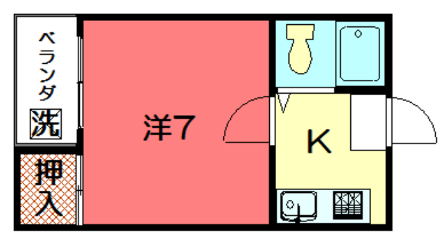 物件番号: 1075917623 バウハウス青山  京都市左京区一乗寺清水町 1K ハイツ 間取り図