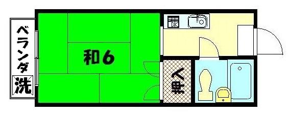 物件番号: 1075918630 ハイツ洛東  京都市左京区浄土寺真如町 1K マンション 間取り図