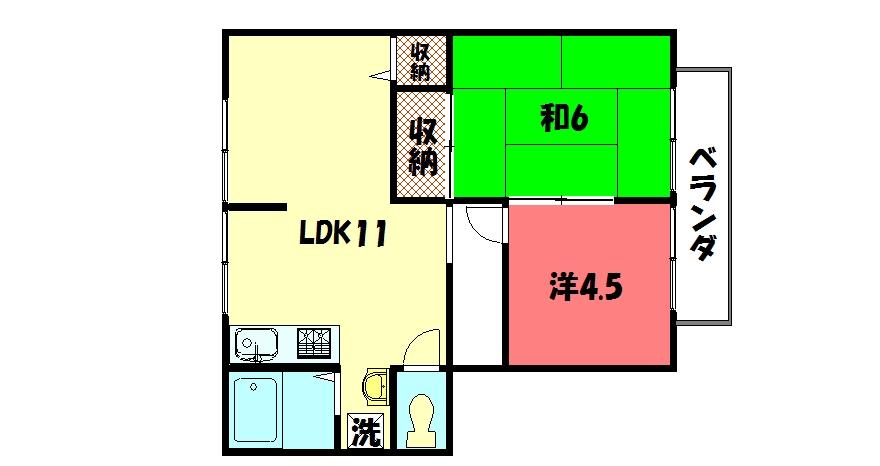 物件番号: 1075918735 サンライフ上蔵  京都市左京区岩倉上蔵町 2LDK ハイツ 間取り図