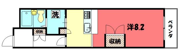 物件番号: 1075918848 ラ・カモガワ62  京都市左京区下鴨宮河町 1K マンション 間取り図