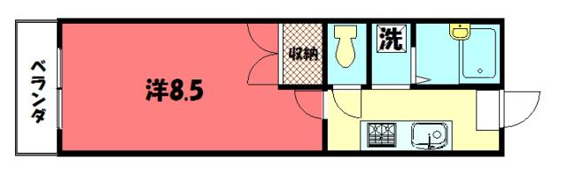 物件番号: 1075919102 ハイツ中山  京都市左京区北白川久保田町 1K マンション 間取り図