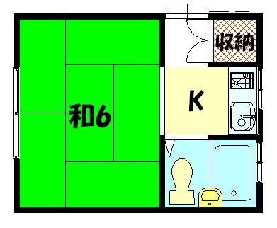 物件番号: 1075919344 ヤサカハウス  京都市左京区田中南西浦町 1K アパート 間取り図