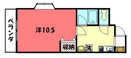 物件番号: 1075919472 ドリーミーK  京都市左京区上高野石田町 1K マンション 間取り図