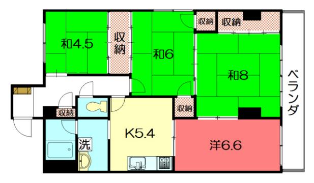 物件番号: 1075919707 シャルマン白梅町ハイツ  京都市北区北野下白梅町 4K マンション 間取り図