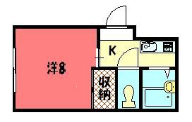 物件番号: 1075919817 アベニュー77  京都市左京区一乗寺塚本町 1K マンション 間取り図