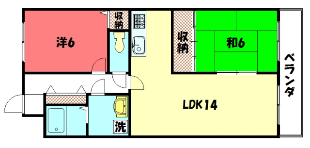 物件番号: 1075920422 ハイツグリーンハーモニー  京都市左京区岩倉下在地町 2LDK マンション 間取り図