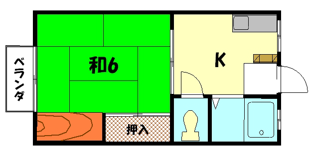 物件番号: 1075920425 カーサしもがも  京都市左京区下鴨蓼倉町 1K ハイツ 間取り図