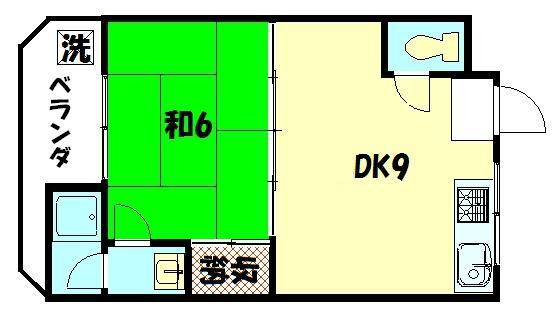 物件番号: 1075920684 サンコーポヒロタ  京都市右京区西京極郡町 1DK マンション 間取り図