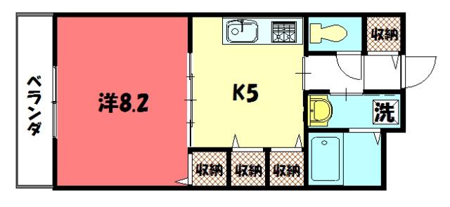 物件番号: 1075921154 ハイム和久里  京都市左京区岩倉中町 1K ハイツ 間取り図