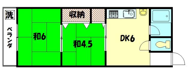 物件番号: 1075921174 コーポ吉沢  京都市左京区一乗寺払殿町 2DK マンション 間取り図