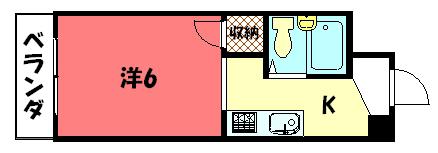 物件番号: 1075921195 コルザ河村  京都市左京区松ケ崎井出ケ海道町 1K マンション 間取り図