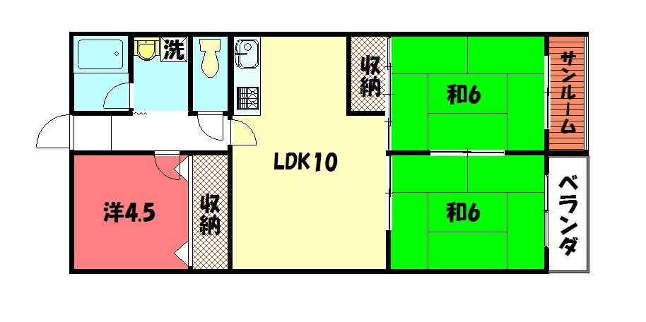 物件番号: 1075921201 カストルム洛北  京都市左京区高野東開町 3LDK マンション 間取り図