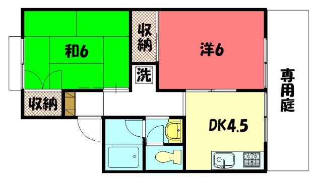 物件番号: 1075921232 セジュール洛北  京都市左京区岩倉中町 2DK ハイツ 間取り図