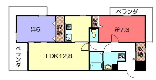 物件番号: 1075921267 ヴォワールKANO  京都市左京区岩倉忠在地町 2LDK マンション 間取り図