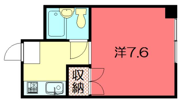 物件番号: 1075921288 きんこん館  京都市左京区松ケ崎壱町田町 1K マンション 間取り図