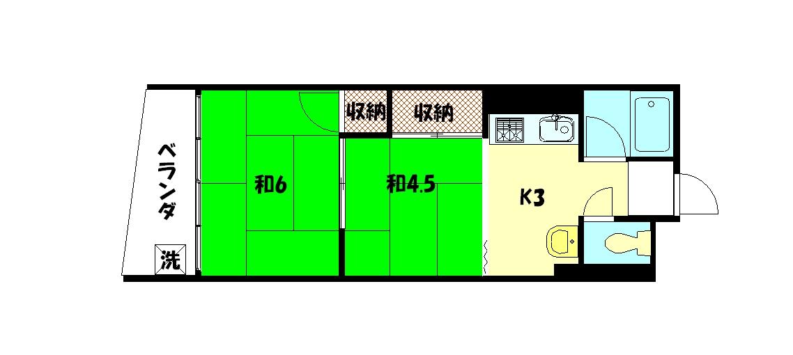 物件番号: 1075921293 コーポ吉沢  京都市左京区一乗寺払殿町 2K マンション 間取り図