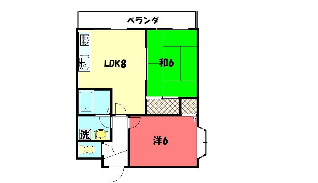 物件番号: 1075921340 緑の森  京都市左京区上高野八幡町 2LDK マンション 間取り図