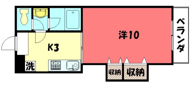 物件番号: 1075921357 ハイツSAWARAGI  京都市左京区岩倉木野町 1K ハイツ 間取り図