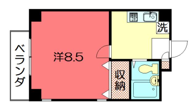 物件番号: 1075921416 エデン神殿  京都市左京区下鴨神殿町 1K マンション 間取り図