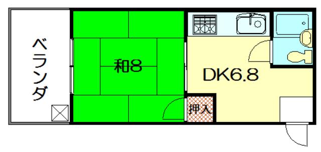 物件番号: 1075921480 セントラル修学院  京都市左京区修学院中林町 1K マンション 間取り図