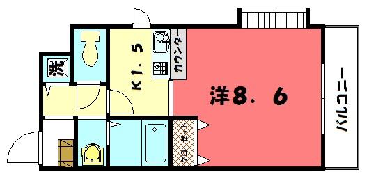 物件番号: 1075921504 プレサンス京大東  京都市左京区浄土寺西田町 1K マンション 間取り図
