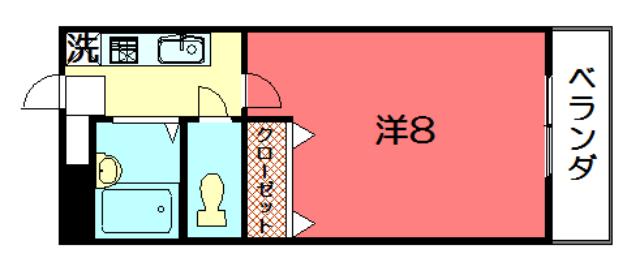 物件番号: 1075921524 ヴェルエール松屋  京都市左京区高野東開町 1K マンション 間取り図